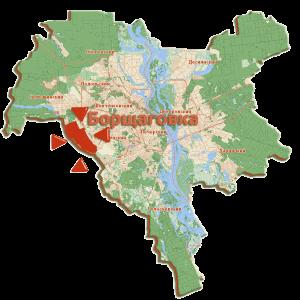 Зображення: Борщагівка на карті Києва